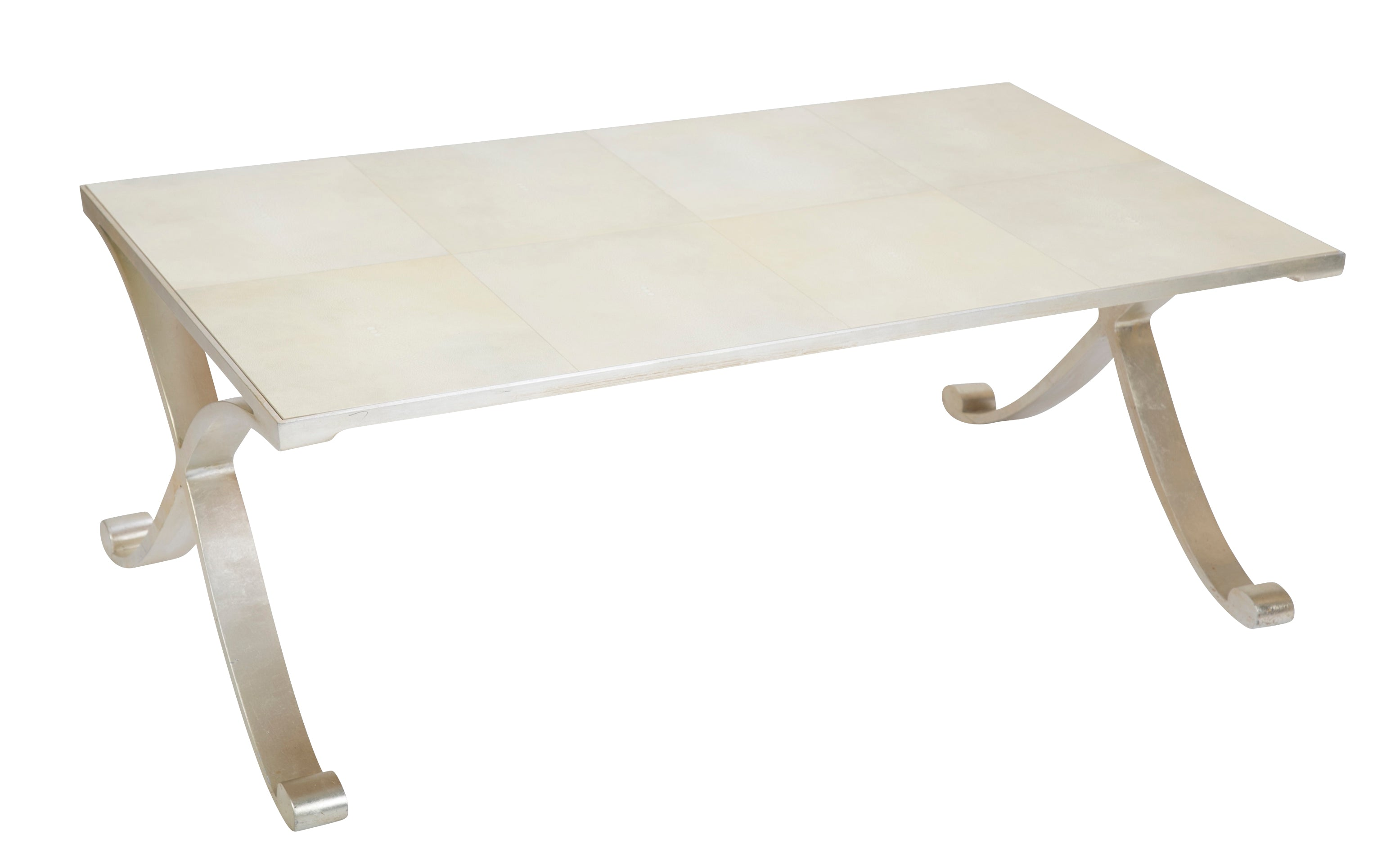 Contemporary Coffee Table of Silvered Metal with Faux Shagreen