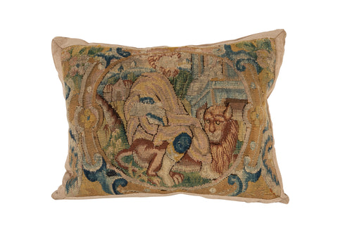 18th Century Tapestry Fragment now a Pillow with Velvet Backing