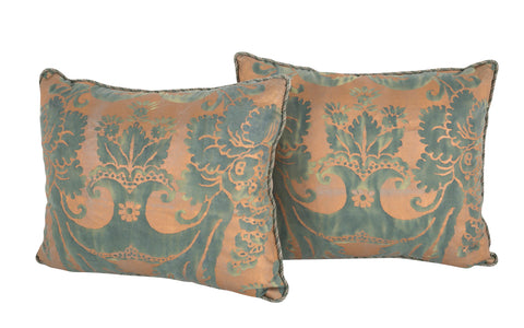 Pair of Fortuny Cushions with Rope Trim