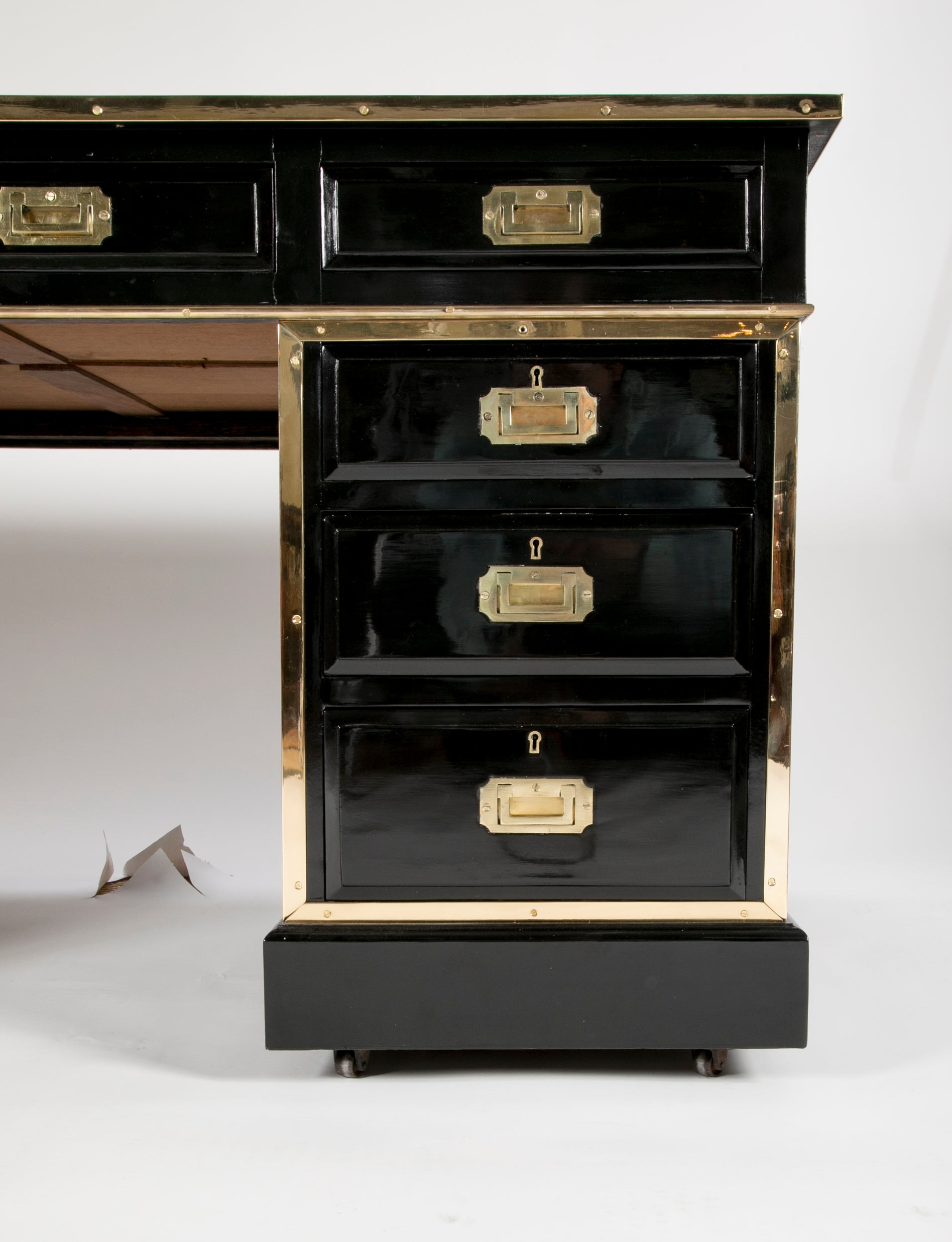 English Lacquer and Brass Mounted Partners' Campaign Desk