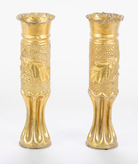 Trench / Folk Art Pair of Vases from French WW I Artillery Shell Casings