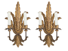 Pair of Northern Italian Gilt Wood Sconces