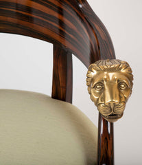 English Faux Calamander Barrel Form Chair with Bronze Lion's Head Mounts