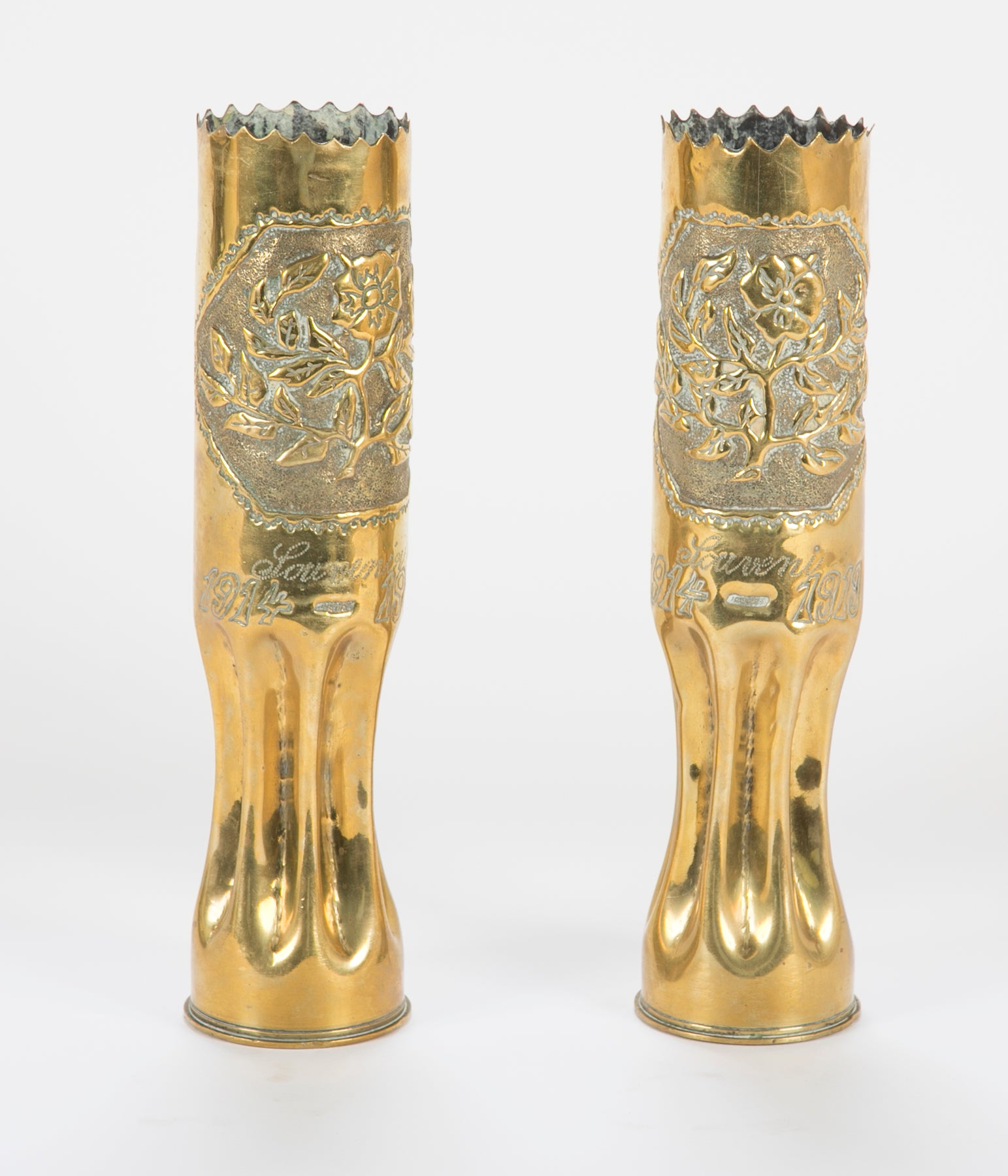 Trench / Folk Art Pair of Vases Made From French WW I Artillery Shell Casings