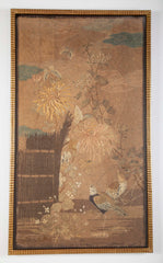 19th Century Japanese Embroidered Silk Panel of a Rural Scene