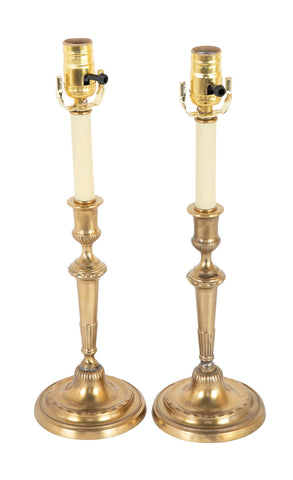 A Pair of English Brass Candlesticks now Lamps