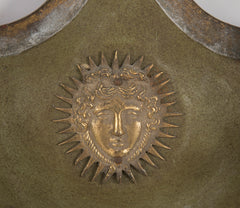 Pair of Green Sconces with Gold Sunburst Head
