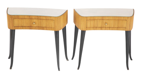 Pair of Italian Reeded and Ebonized Side Tables