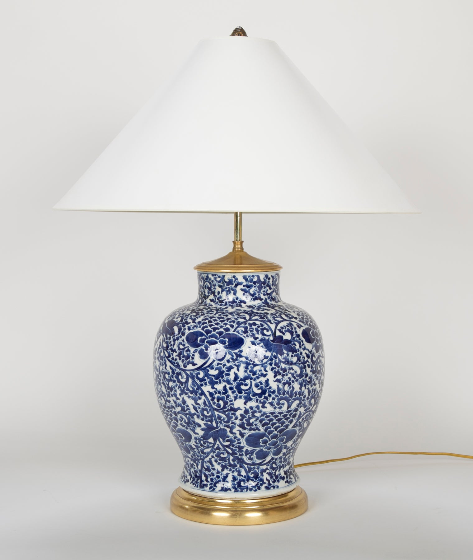 19th Century Chinese Blue & White Porcelain Vase now a Lamp