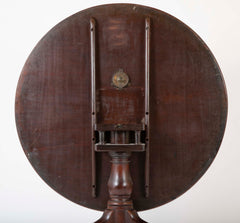 An English George II Mahogany Bird Cage Round Tilt Top Table