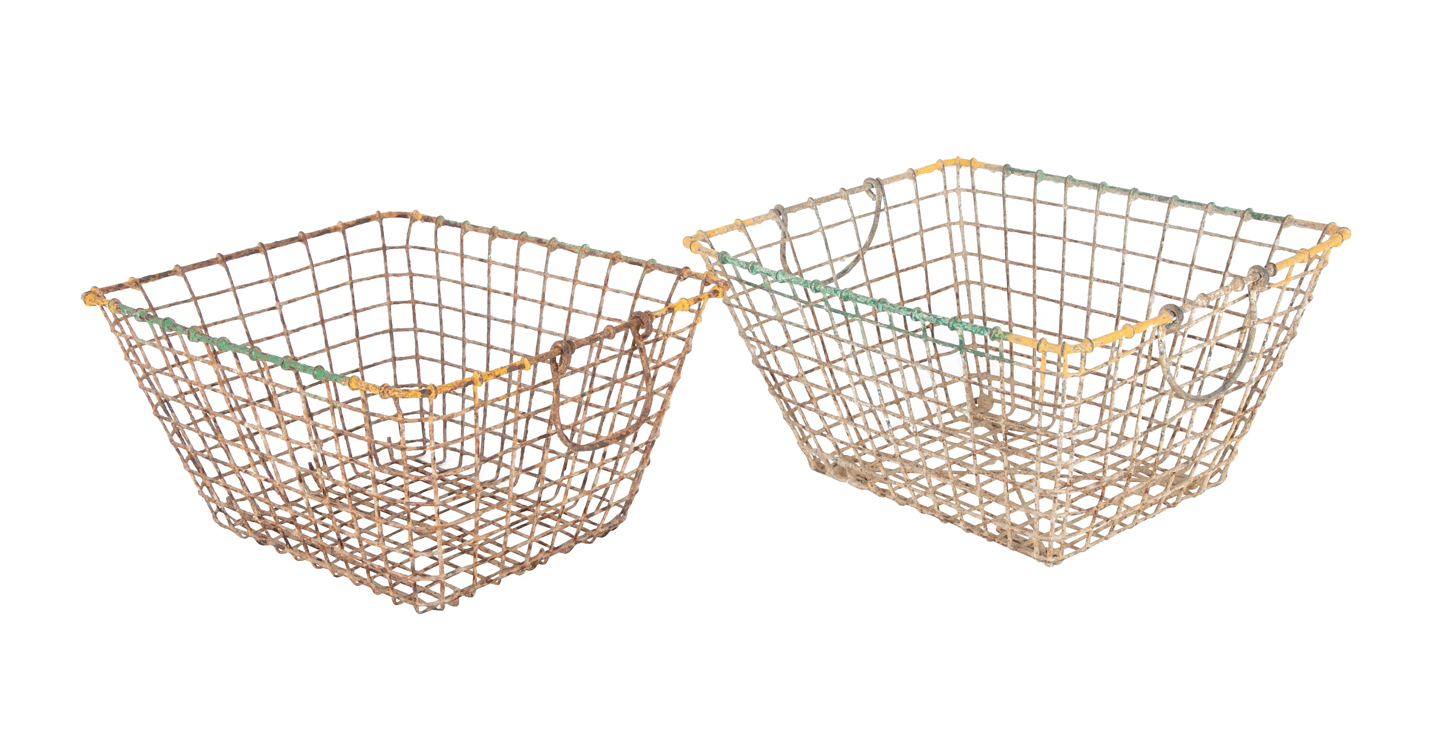 Two Vintage French Wire Oyster Baskets