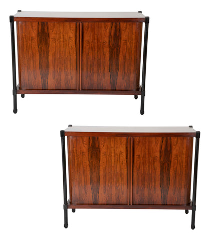 Pair of Ebonized and Rosewood Tambour Door Danish Cabinets