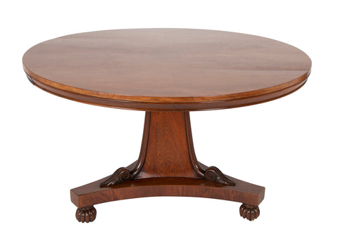 19th Century English Center Table on Pedestal Base