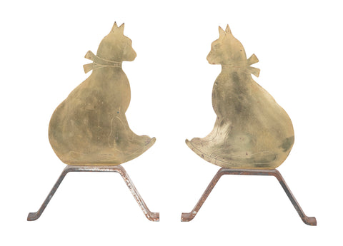 Very Unusual American Cat Form Brass Andirons