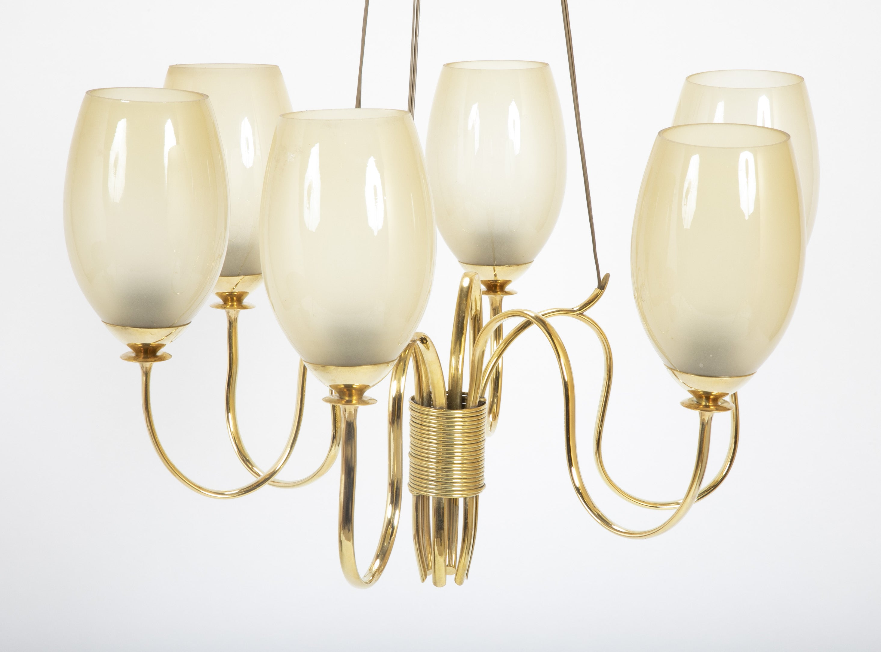 Paavo Tynell  Six Light Brass and Glass Chandelier (Model 9011)