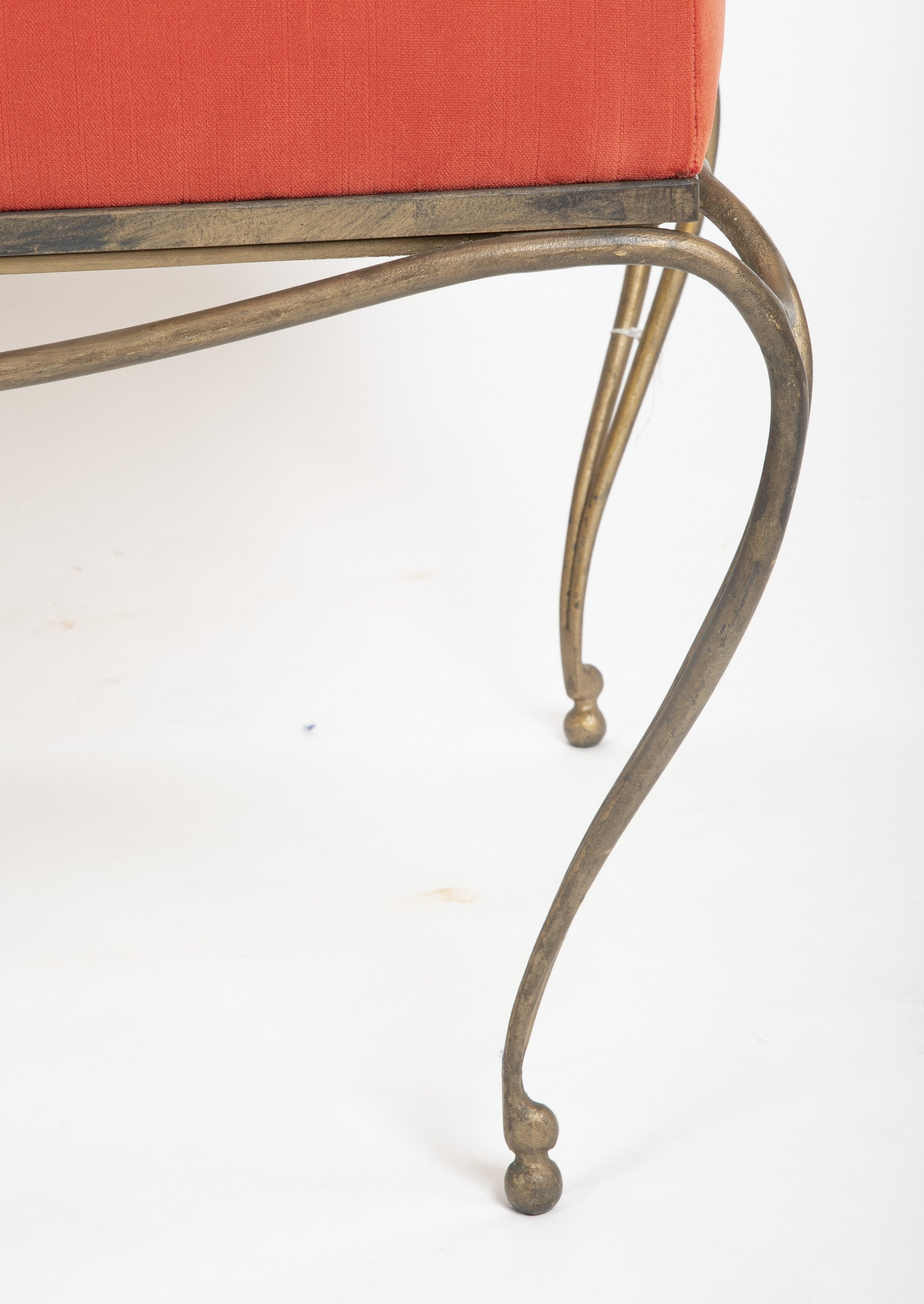 French Gilt Steel Bench in the Manner of Jean Royere