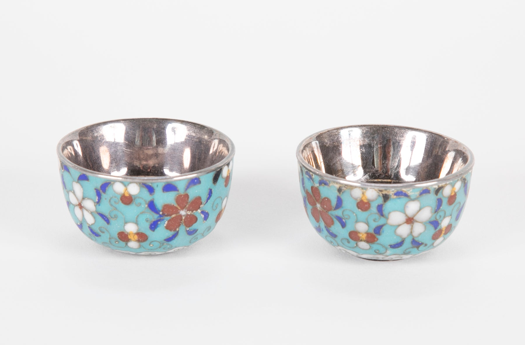 Pair of Silver Cloisonne Cups
