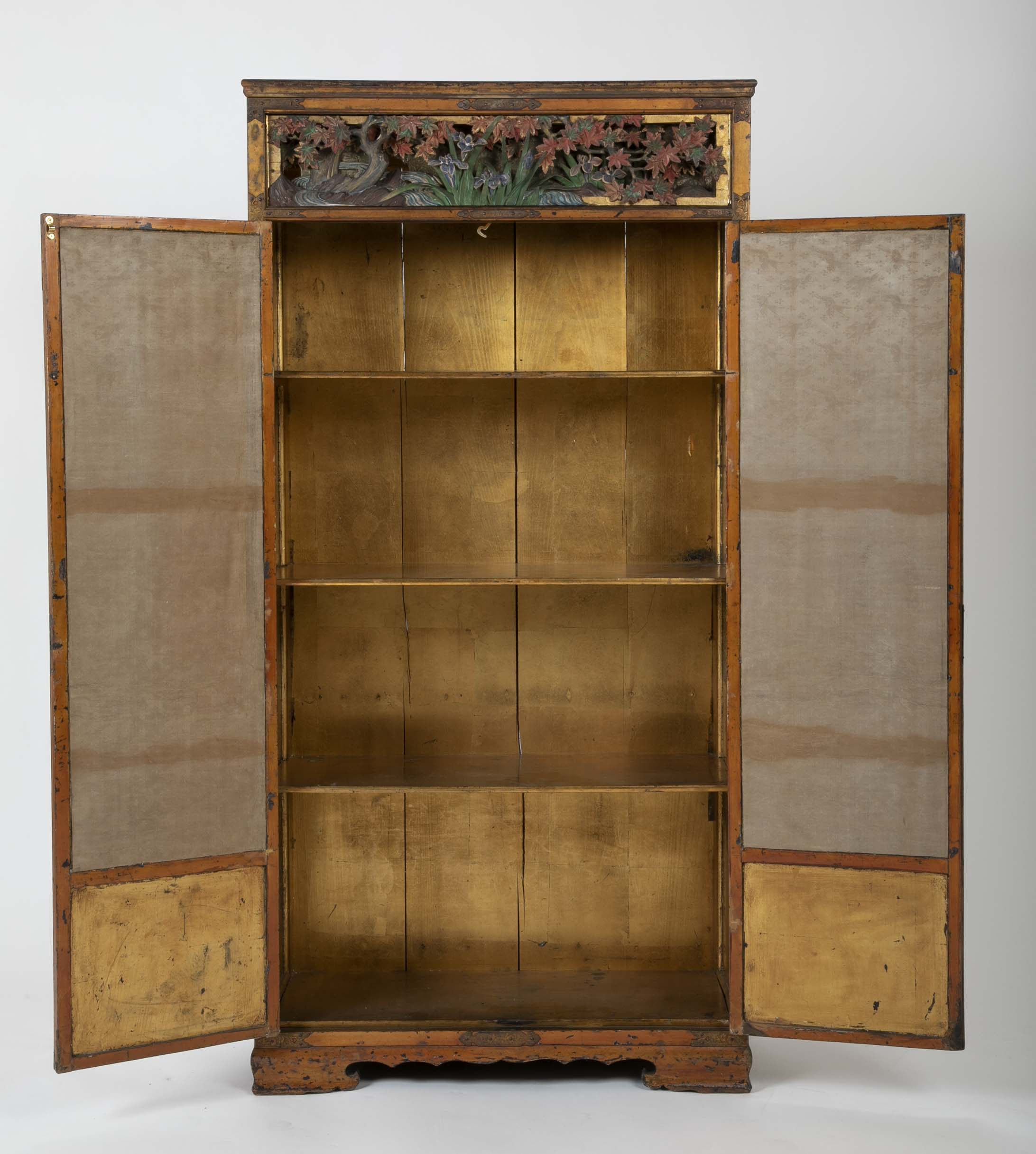 Gold Leaf Japanese Cabinet with Carved & Painted Panels of Flowers