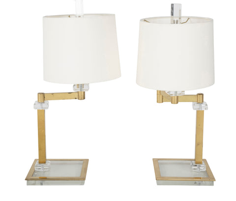 Pair of Italian Mid-Century Lucite & Brass Adjustable Swing Lamps