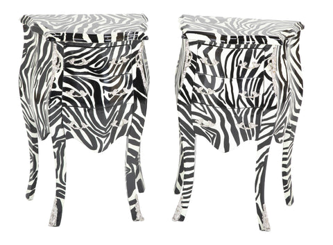 Pair of Zebra Painted Louis XIV Style Commodes