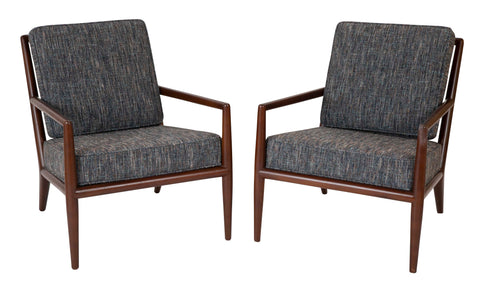 Pair of Walnut Armchairs Designed by T.H. Robsjohn-Gibbings