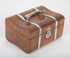 English Burr Walnut and Silver Box