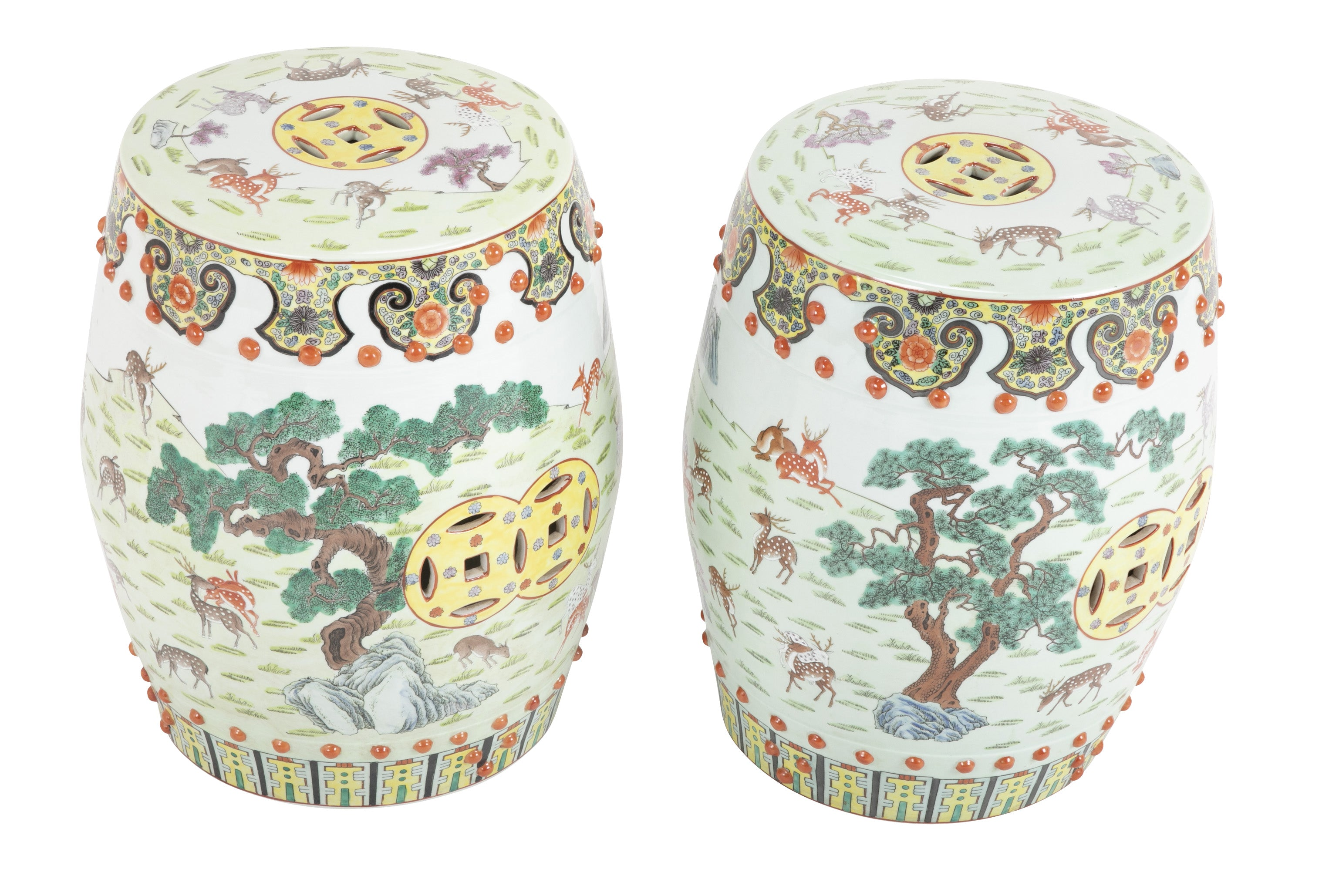 Pair of 8th Century Chinese Famille Rose Porcelain Garden Seats