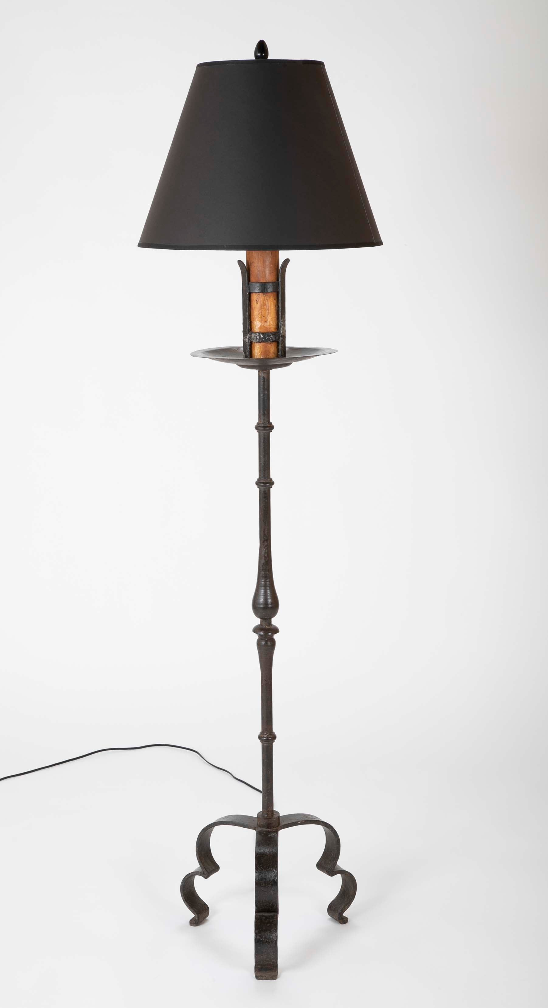 Pair of Spanish Baroque Style Wrought Iron Floor Lamps