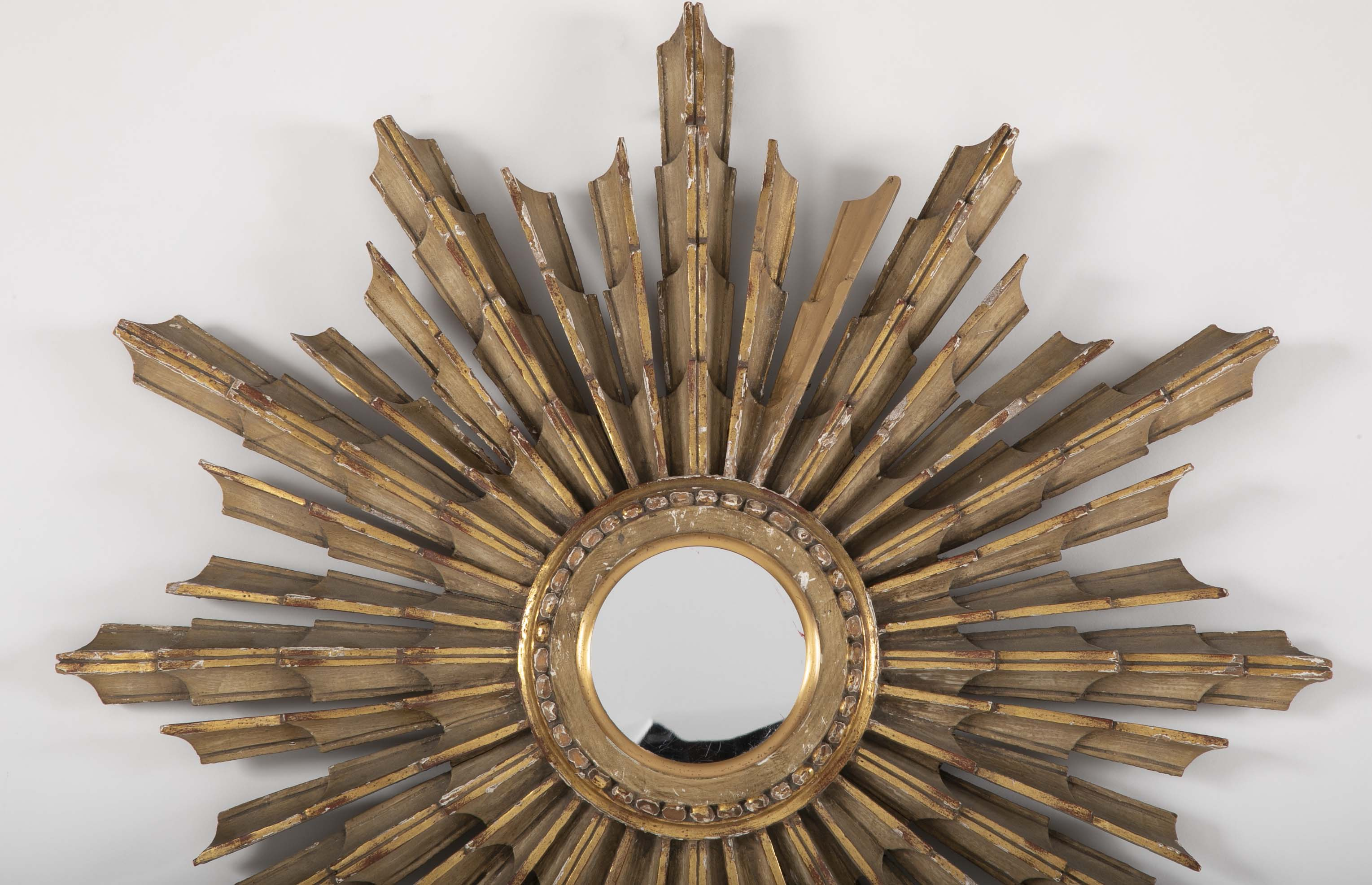 Early 20th Century Painted & Gilt Wood Sunburst Mirror