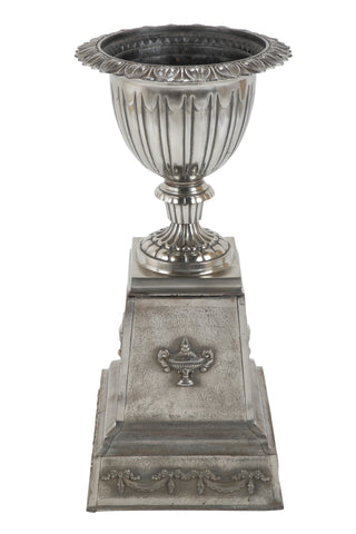 Late 19th Century Polished Cast Iron Garden Urn
