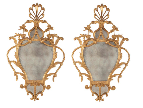 Pair of Giltwood George III Style Mirrors in the Linnell School Manner