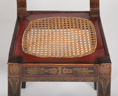 Pair of Caned Painted Side Chairs with Painted Greek Key Frieze After Benjamin Latrobe