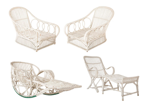 Set of Four Pieces of Rattan Porch Furniture