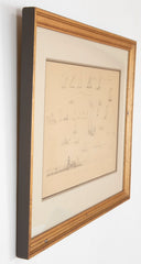 Pair of Pencil Drawings of Newport Boats Racing by American Impressionist Reynolds Beal