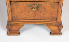 Finely Sculpted English George III Style Burl Walnut over Mahogany Pedestal Partner's Desk