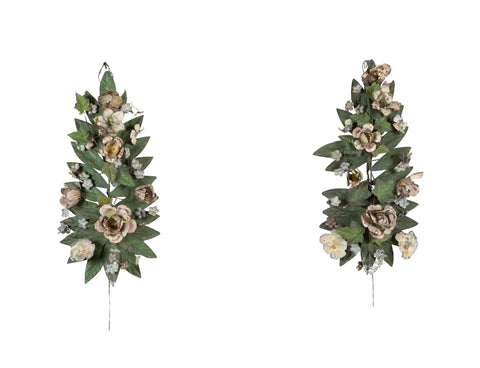 An Early 20th Century Pair of French Tole Florals
