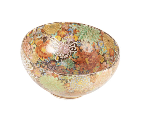 "Japanese Satsuma ""Thousand Flowers"" Pottery Bowl"