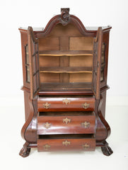 A Late 18th Century Miniature Dutch Kettle Base Paw Foot Bookcase