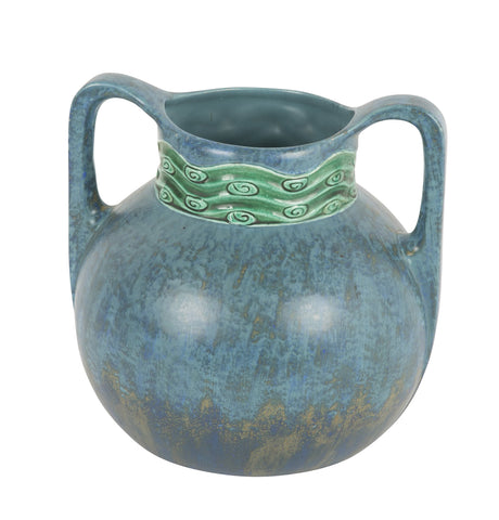 Austrian Ceramic Double Handled Blue Vase