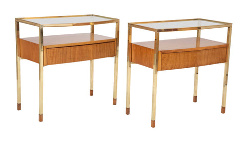 Pair of Italian Bleached Mahogany and Brass Bedside Tables