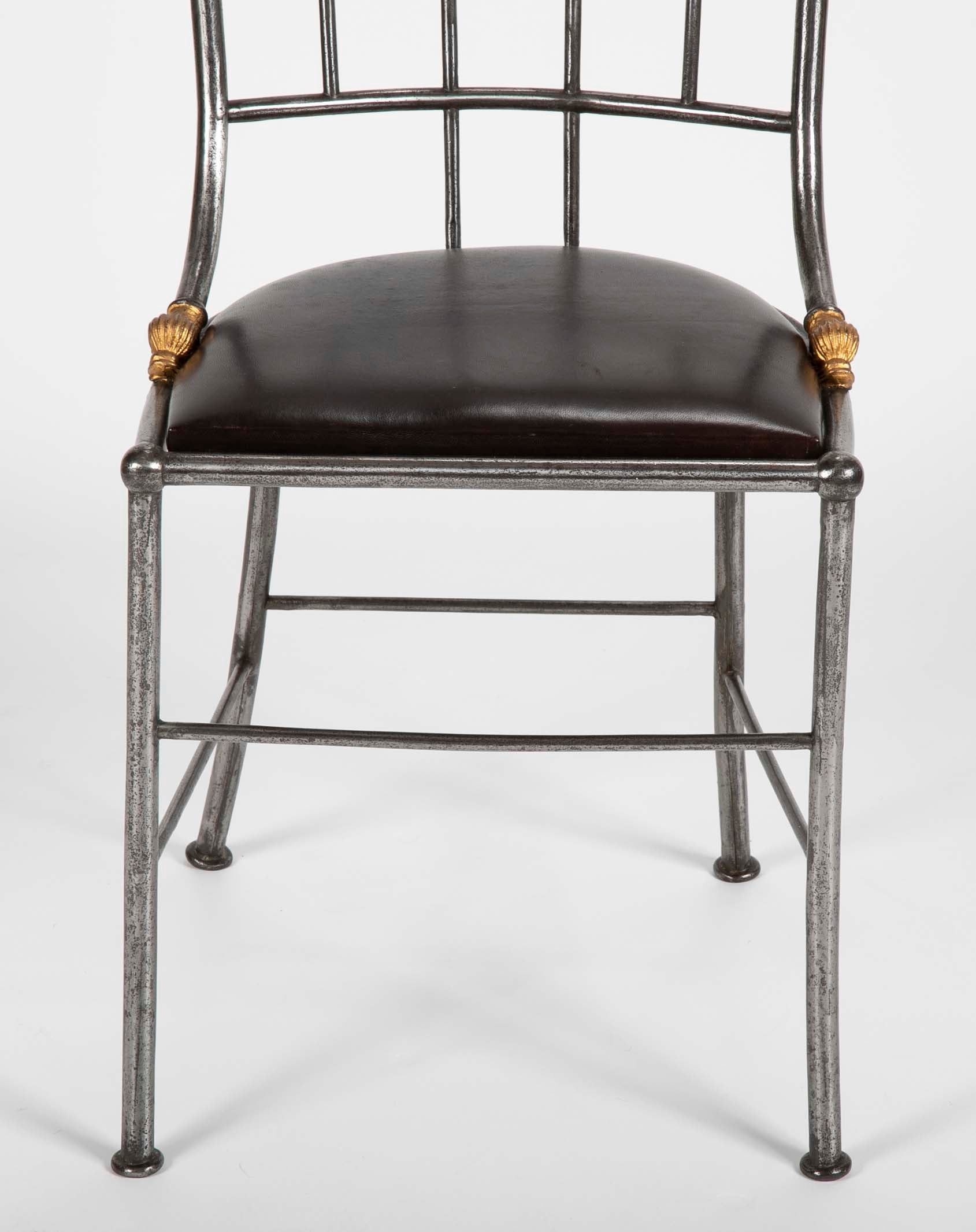 Set of Four Distinctive French Steel & Parcel Gilt Metal Side Chairs