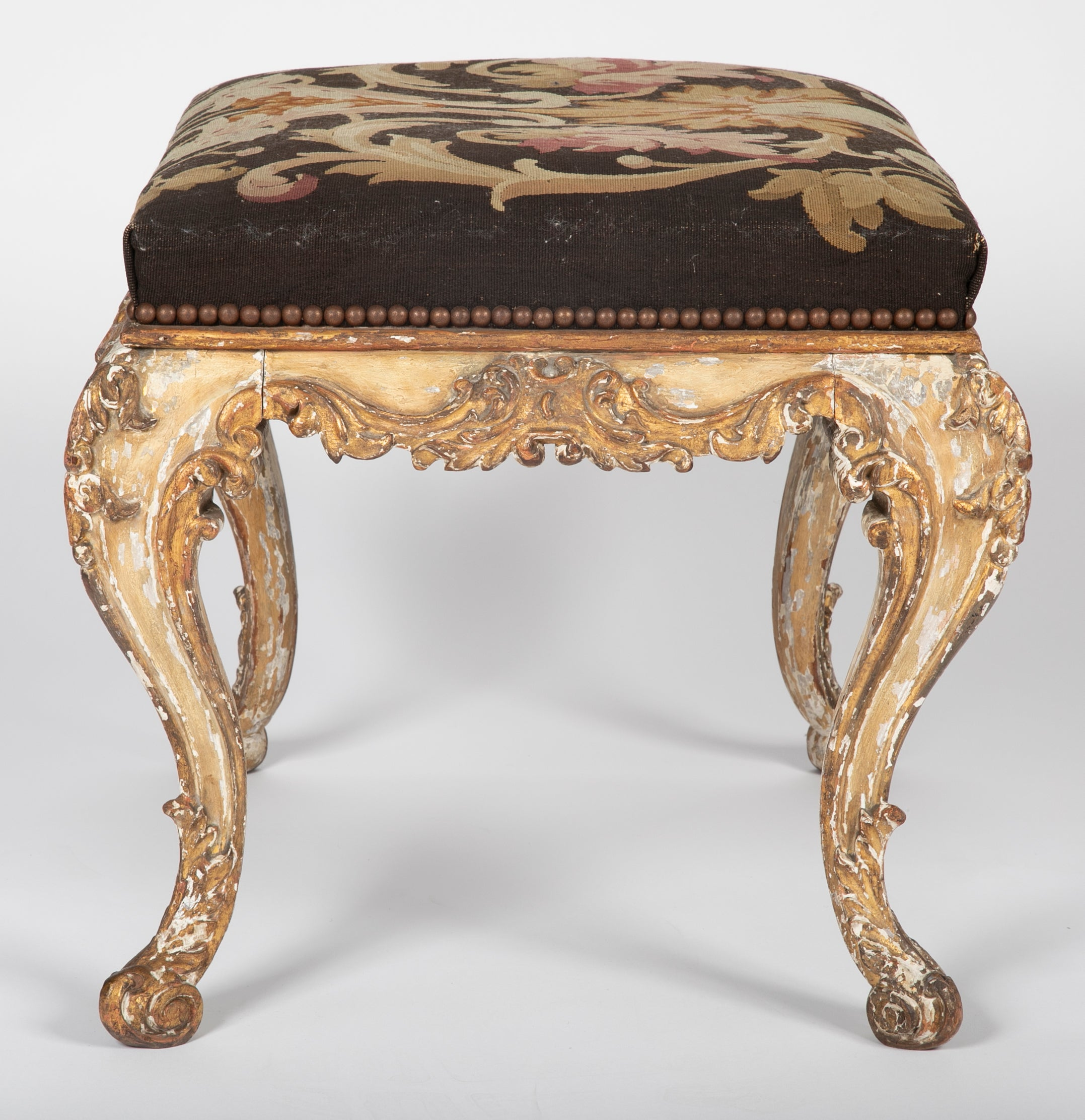 French Painted & Gilt Wood 18th Century Stools with Aubusson Tapestry Seats