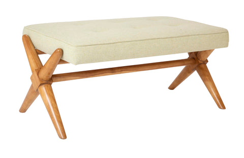 T.H. Robsjohn-Gibbings Bleached Walnut X-Form Bench