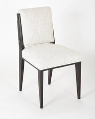 A Pair of Ebonized French Side Chairs with Nickel Plated Details