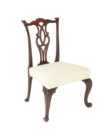 George II Mahogany Side Chair with Foliate Carved Cabriolet Legs on Scroll Feet.