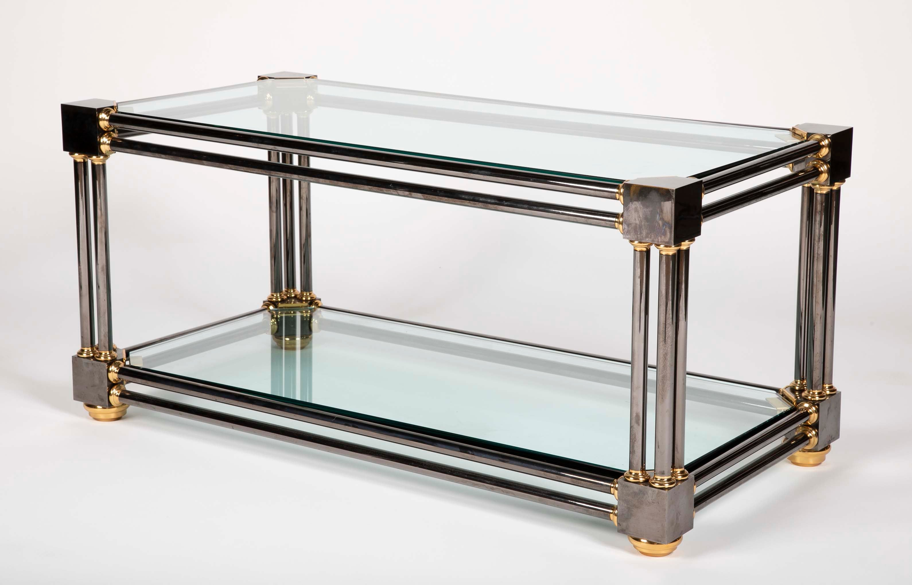 Extraordinary Heavy Custom Brass & Gun Metal Steel Coffee Table