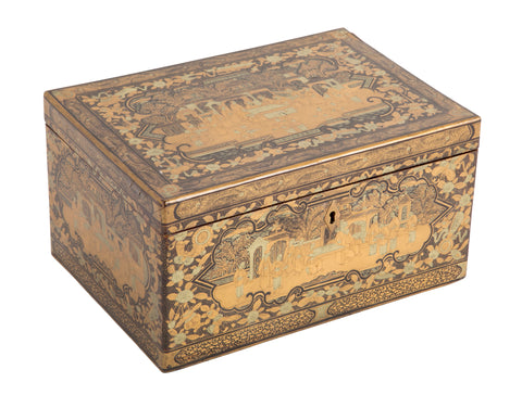 Chinese Silver Gilt and Lacquered Tea Caddy