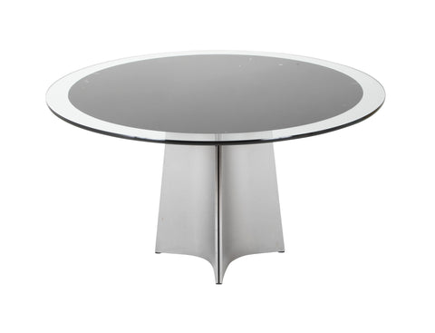 Stainless Steel Glass Top Center Table by Maison Jansen