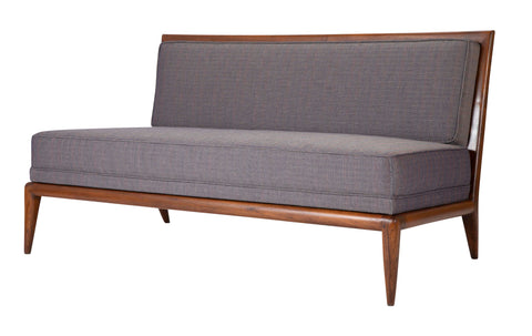 T.H. Robsjohn Gibbings Style Open Arm Settee in Walnut and Delany & Long Fabric