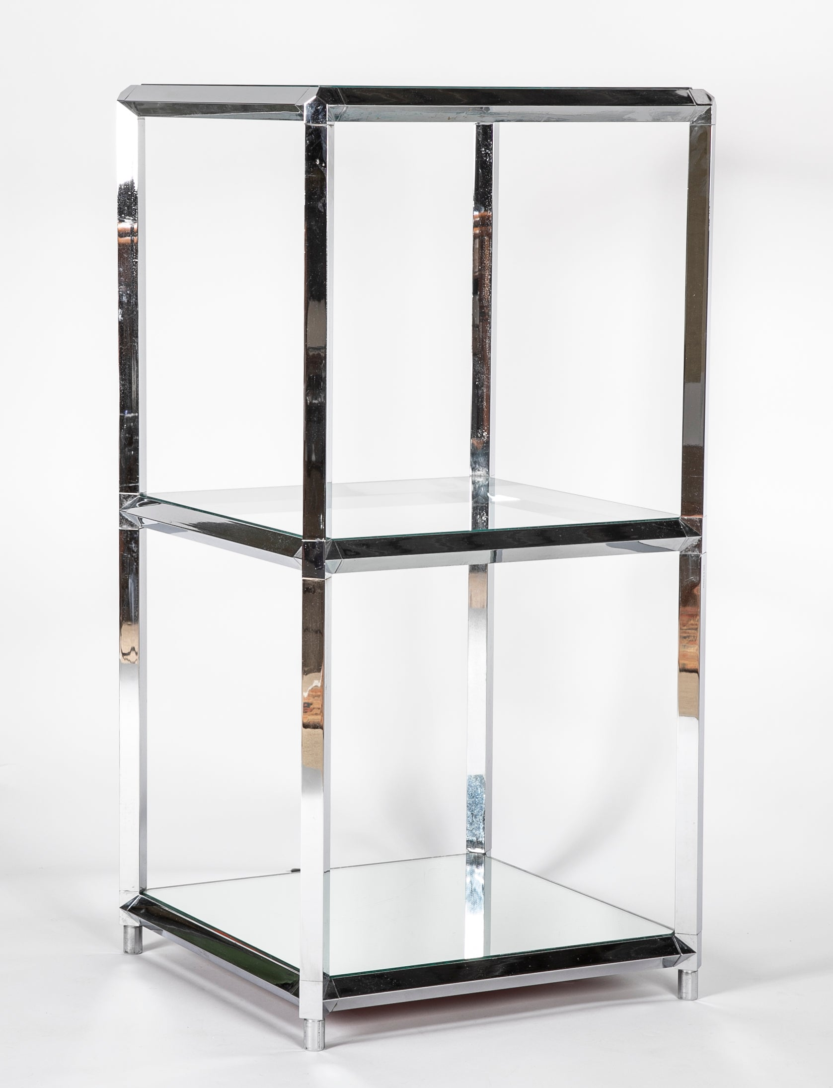 Chrome Over Iron Glass Shelved Etagere